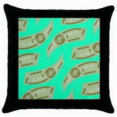 Money Dollar $ Sign Green Throw Pillow Case (black)