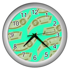 Money Dollar $ Sign Green Wall Clocks (silver)