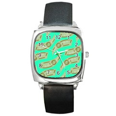 Money Dollar $ Sign Green Square Metal Watch