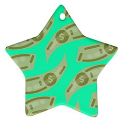 Money Dollar $ Sign Green Star Ornament (two Sides)