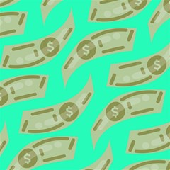 Money Dollar $ Sign Green Canvas 12  x 12