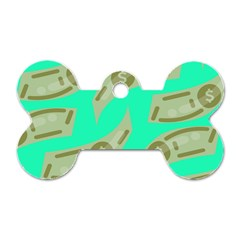 Money Dollar $ Sign Green Dog Tag Bone (One Side)
