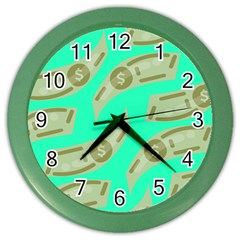 Money Dollar $ Sign Green Color Wall Clocks