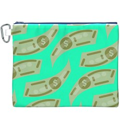 Money Dollar $ Sign Green Canvas Cosmetic Bag (XXXL)