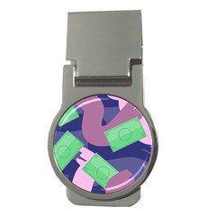 Money Dollar Green Purple Pink Money Clips (Round)
