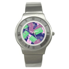 Money Dollar Green Purple Pink Stainless Steel Watch