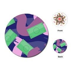 Money Dollar Green Purple Pink Playing Cards (Round)