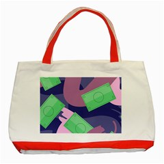 Money Dollar Green Purple Pink Classic Tote Bag (Red)