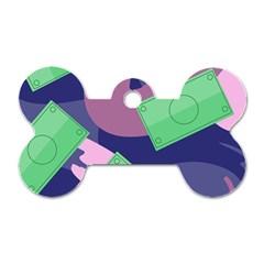 Money Dollar Green Purple Pink Dog Tag Bone (One Side)