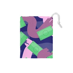 Money Dollar Green Purple Pink Drawstring Pouches (Small)
