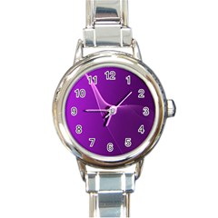 Purple Line Round Italian Charm Watch