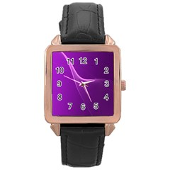 Purple Line Rose Gold Leather Watch