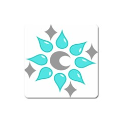 Moon Water Star Grey Blue Square Magnet