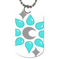 Moon Water Star Grey Blue Dog Tag (Two Sides)