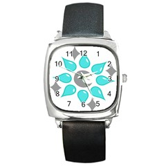 Moon Water Star Grey Blue Square Metal Watch