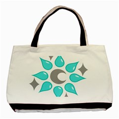 Moon Water Star Grey Blue Basic Tote Bag