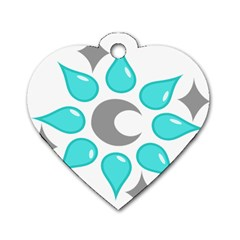 Moon Water Star Grey Blue Dog Tag Heart (two Sides)