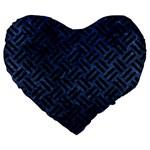 WOVEN2 BLACK MARBLE & BLUE STONE (R) Large 19  Premium Flano Heart Shape Cushion Front