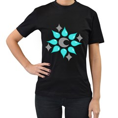 Moon Water Star Grey Blue Women s T-Shirt (Black)