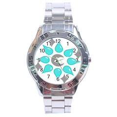 Moon Water Star Grey Blue Stainless Steel Analogue Watch
