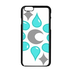 Moon Water Star Grey Blue Apple iPhone 6/6S Black Enamel Case