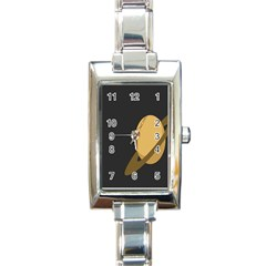 Saturn Ring Planet Space Orange Rectangle Italian Charm Watch