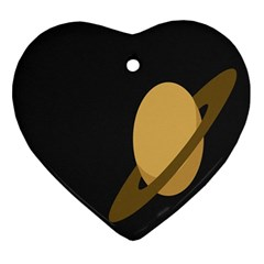 Saturn Ring Planet Space Orange Ornament (Heart)
