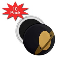Saturn Ring Planet Space Orange 1 75  Magnets (10 Pack)