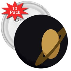 Saturn Ring Planet Space Orange 3  Buttons (10 pack)