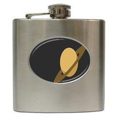 Saturn Ring Planet Space Orange Hip Flask (6 oz)