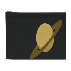 Saturn Ring Planet Space Orange Cosmetic Bag (XL)