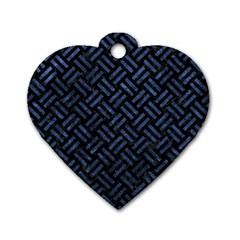 WOV2 BK-MRBL BL-STONE Dog Tag Heart (One Side)