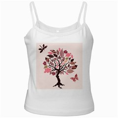 Tree Butterfly Insect Leaf Pink White Spaghetti Tank