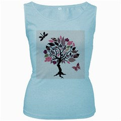 Tree Butterfly Insect Leaf Pink Women s Baby Blue Tank Top