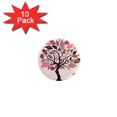 Tree Butterfly Insect Leaf Pink 1  Mini Magnet (10 pack)