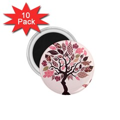 Tree Butterfly Insect Leaf Pink 1.75  Magnets (10 pack)