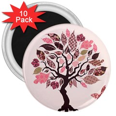 Tree Butterfly Insect Leaf Pink 3  Magnets (10 pack)
