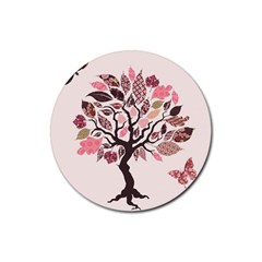 Tree Butterfly Insect Leaf Pink Rubber Coaster (Round)