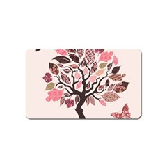 Tree Butterfly Insect Leaf Pink Magnet (Name Card)
