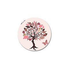 Tree Butterfly Insect Leaf Pink Golf Ball Marker