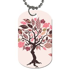 Tree Butterfly Insect Leaf Pink Dog Tag (two Sides)