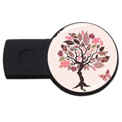 Tree Butterfly Insect Leaf Pink USB Flash Drive Round (1 GB)