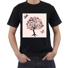 Tree Butterfly Insect Leaf Pink Men s T-Shirt (Black) (Two Sided)