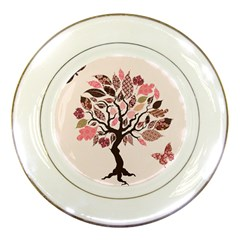 Tree Butterfly Insect Leaf Pink Porcelain Plates