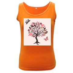 Tree Butterfly Insect Leaf Pink Women s Dark Tank Top