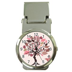Tree Butterfly Insect Leaf Pink Money Clip Watches