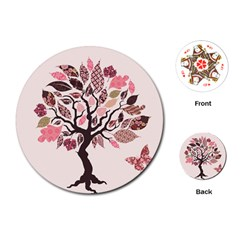 Tree Butterfly Insect Leaf Pink Playing Cards (Round)