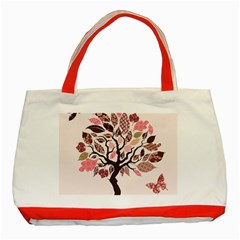 Tree Butterfly Insect Leaf Pink Classic Tote Bag (Red)