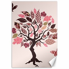 Tree Butterfly Insect Leaf Pink Canvas 12  X 18