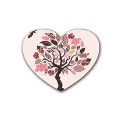 Tree Butterfly Insect Leaf Pink Heart Coaster (4 pack)